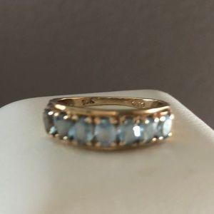 Aquamarine & 10k Yellow Gold Vintage Ring